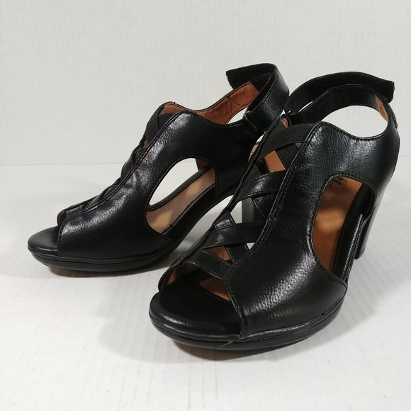 Euro Soft by Sofft Womens Leather Pumps Heels Black & Gray